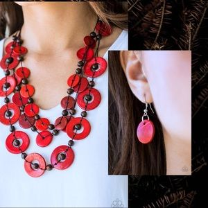 paparazzi Jewelry - *Catalina Cruising Red Wooden Necklace Set